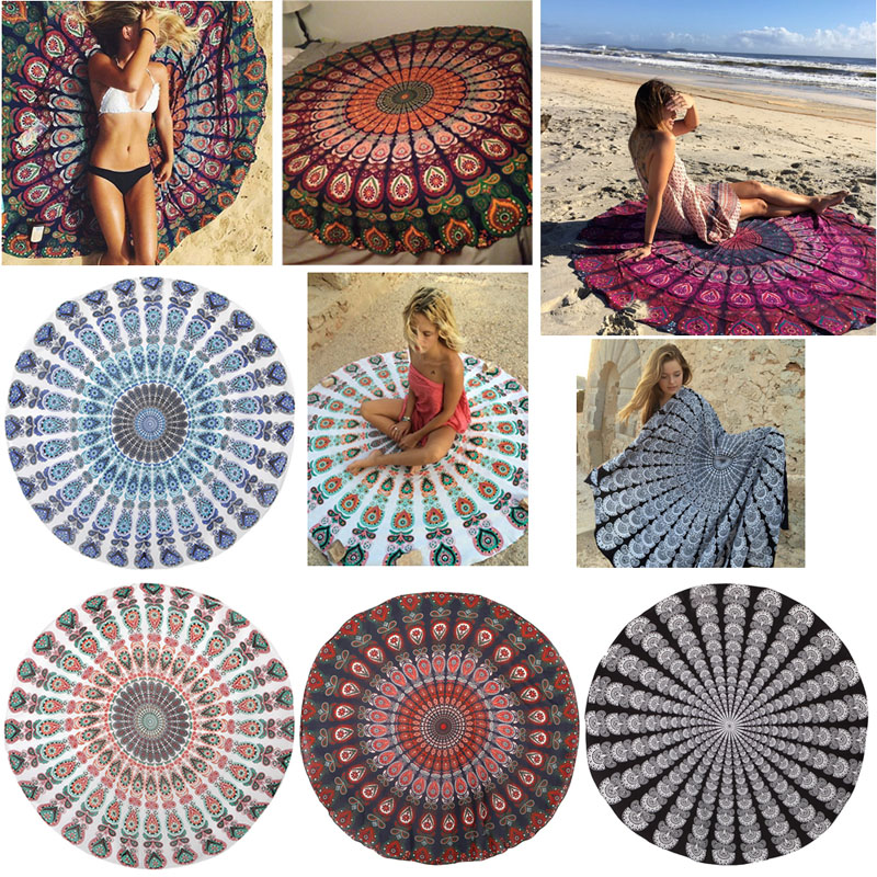 Round Beach Cover Up Pareo Bikini Boho Hippie Summer Dress Swimwear Bathing Suit F05