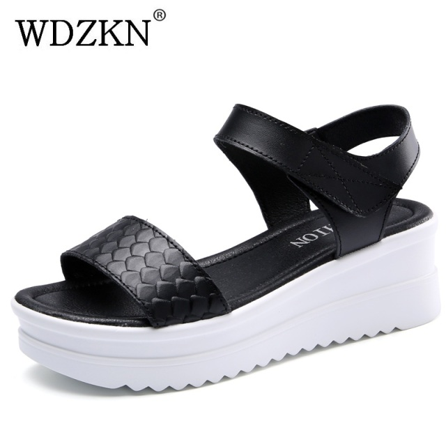 48c3a70851 WDZKN Summer Women Wedge Sandals Comfortable Genuine Leather Open Toe Black  White Platform Sandals Shoes Sandalias
