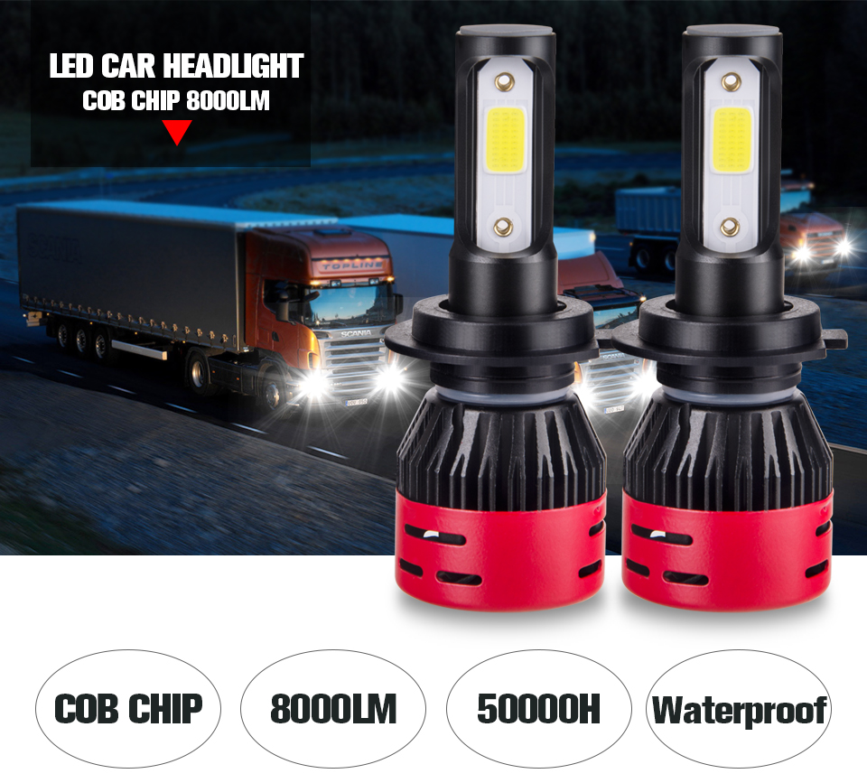 Foxcnsun LED H4 H7 H11 9005 9006 Car headlight HB3 HB4 24V truck for Iveco  Man Heavy Truck Kenworth  FOR Volvo 6500K 4300K ampoule (1)