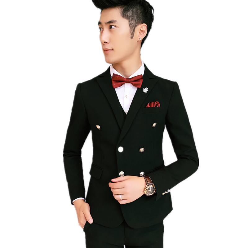 New Arrival Grooms Tuxedos Black Wedding Suits For Men Notched Lapel Men Suits Grooms Suits Men Wedding