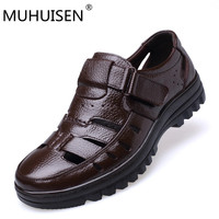 MUHUISEN size 38 44 men summer style shoes Classic style Retro Gladiator Cool men sandals Fretwork Breathable Fisherman Shoes