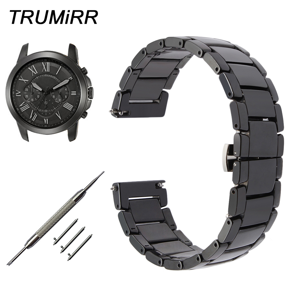 Quick Release Ceramic Watchband for Fossil Q Founder Wander Crewmaster Grant Marshal Watch Band Steel Butterfly Buckle Strap wander