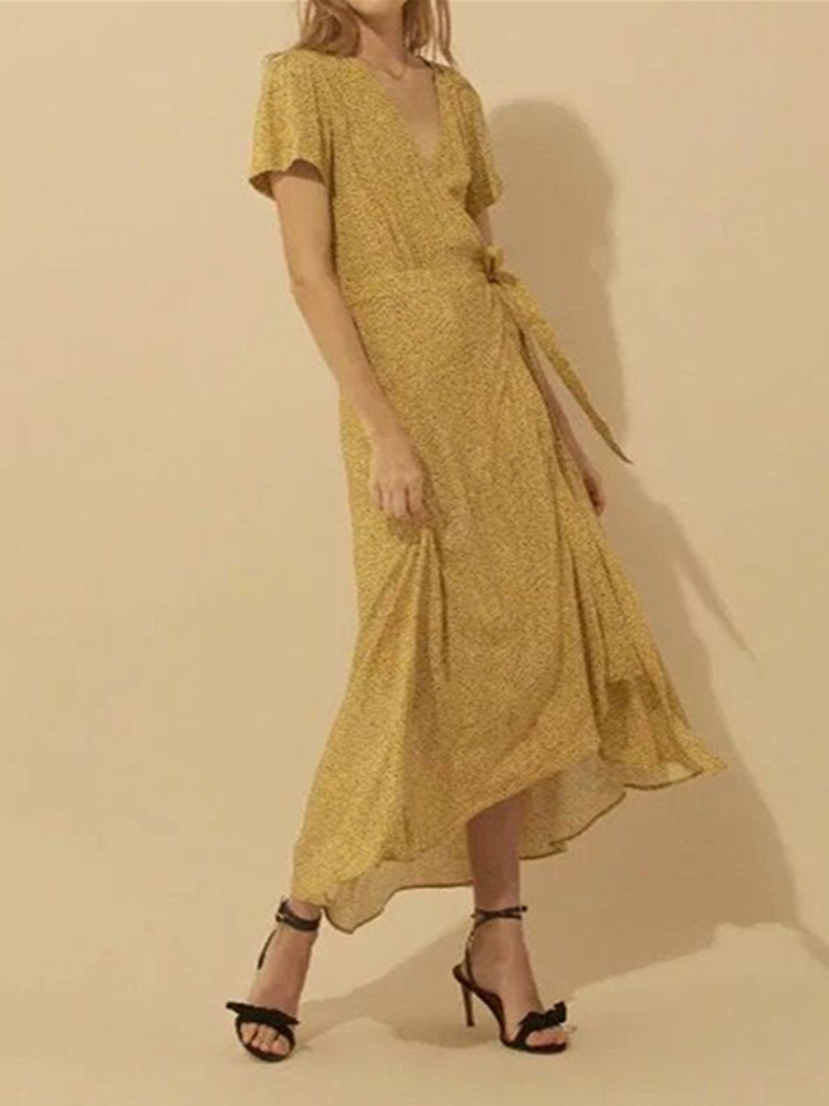 2019 New Women Yellow Dress Short Sleeve V Neck Print Long Irregular Dresses With Belt