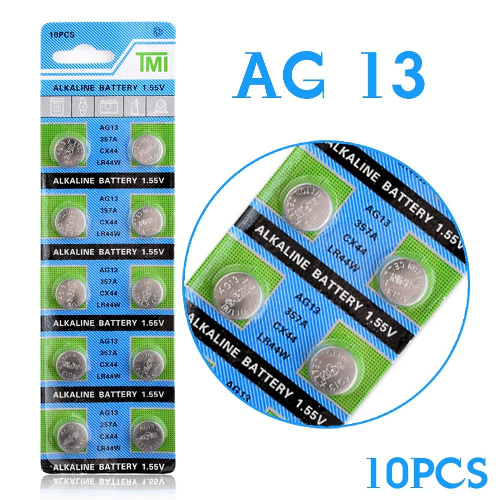 MJKAA 2017 Wholesale 10 Pcs AG13 LR44 357A S76E G13 Button Coin Cell Battery Batteries 1.55V Alkaline