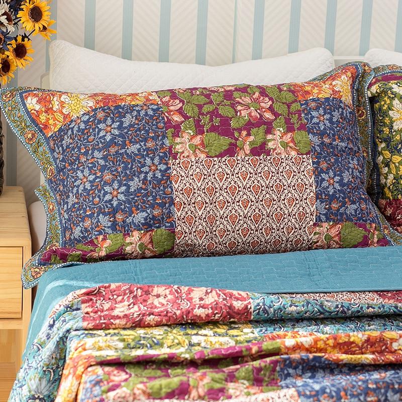 CHAUSUBวินเทจดอกไม้ผ้าคลุมเตียงชุด3ชิ้นล้างผ้าฝ้ายคลุมเตียงผ้านวมผ้าคลุมเตียงแผ่นนอนปลอกหมอนผ้าห่มขนาดคิงไซส์-ใน ผ้าคลุมเตียง จาก บ้านและสวน บน   3