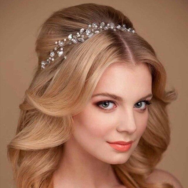 Fashion Women Crystal Hair Accessories Wear Wedding Headdress Retro Bridal Silver Wreath Handmade Headband Crown