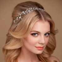 Silber Kristall Tiaras Stirnband Haar Schmuck Hochzeit Braut Haar Zubehör Handgemachte Frauen Kopfstück Pageant Haar Ornamente SL
