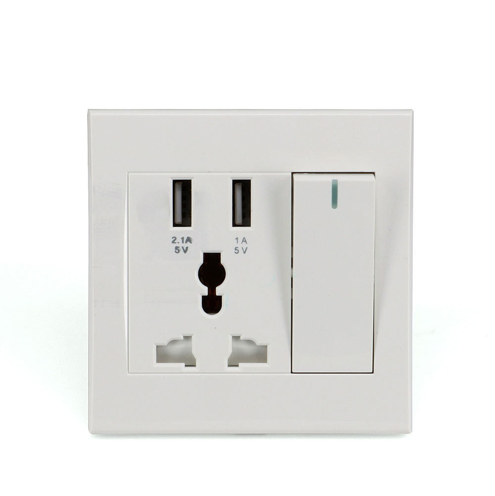 Universal Smart Wall Socket AC Power Switch Outlet Dual USB Ports ...