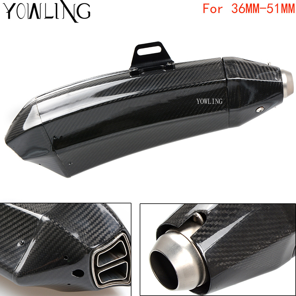 Motorcycle Real Carbon Fiber Exhaust Muffler Pipe Escape DB Killer FOR KAWASAKI ninja 650r er6f er-6n f z750 z800 z1000 zx9r 10r