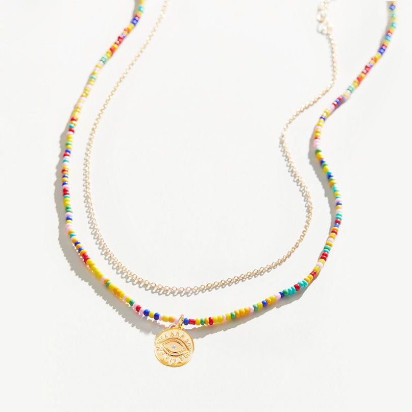 Beads Necklace For Woman Dainty Jewelry,Tiny Jewelry Beads Choker Boho Necklace Dainty Beads Necklace Miyuki Necklace Layered Necklace