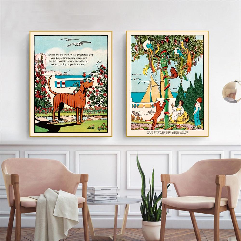 Poster Vintage Hanging Wall art Hund Malerei Leinwand Drucke Wand ...