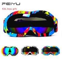 Зимние Детские лыжные очки с двойными линзами, защита UV400, для мальчиков и девочек, противотуманные, снежные маски, лыжные Солнцезащитные очки, очки для сноуборда, маленький размер
