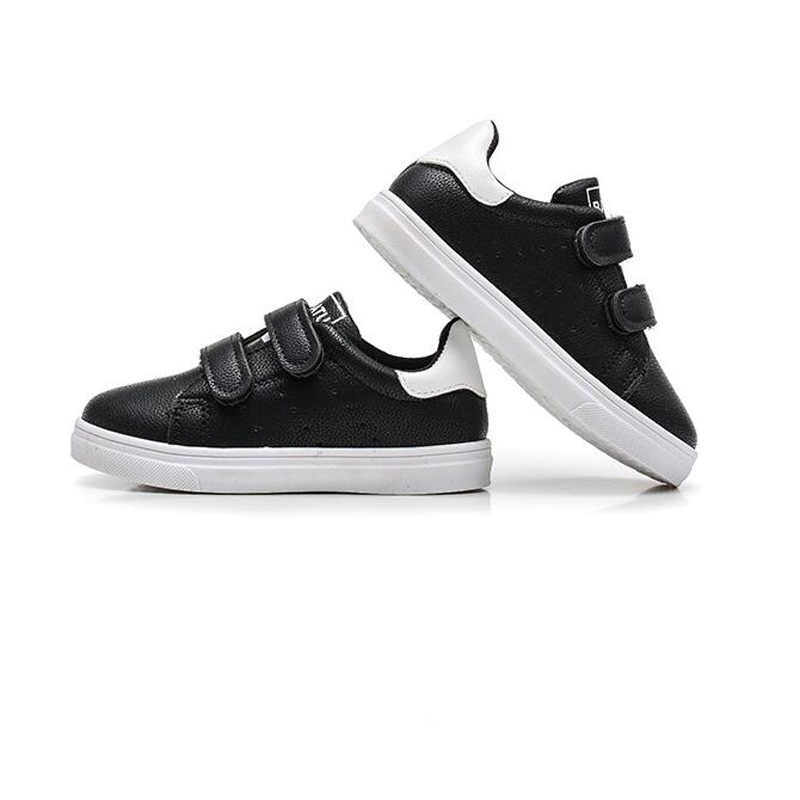 Children Causal Shoes Solid Color Boys Girls PU Leather Sports Shoes Kids Sneaker Rubber Bottom Big Kids School Plate Shoes