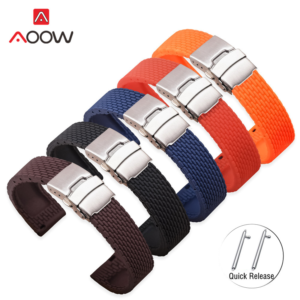18mm 20mm 22mm 24mm Silicone Strap Folding Buckle For Samsung Galaxy Watch Gear S2 S3 Quick Release Rubber Bracelet Strap Band
