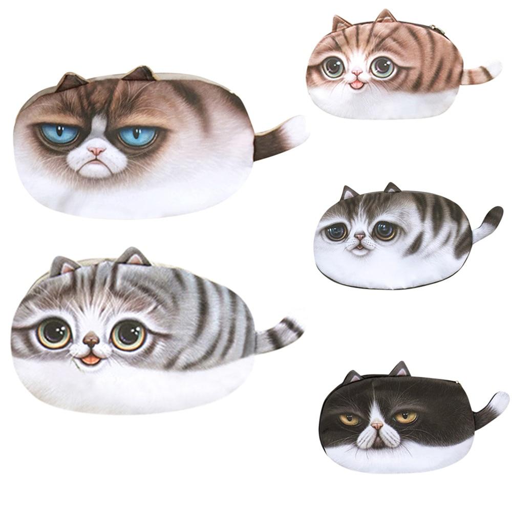 CONEED Women Girl Cute Cat Face Print Girl Plush Coin Purse Change Purse Bag Wallet drop ship ap23m30