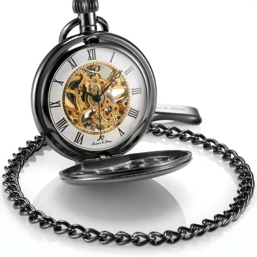 Creative Hollow Mechanical Pocket Watch Alloy Chain Fashion Rome Numbers Unisex Pocket Watch For Women Men  HOT SALE