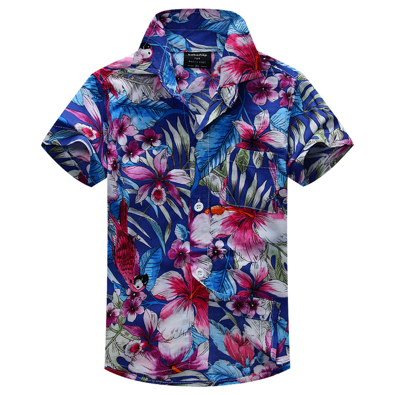 new arrival cotton 100% floral shirt hawaiian shirt aloha shirt for boy T1504