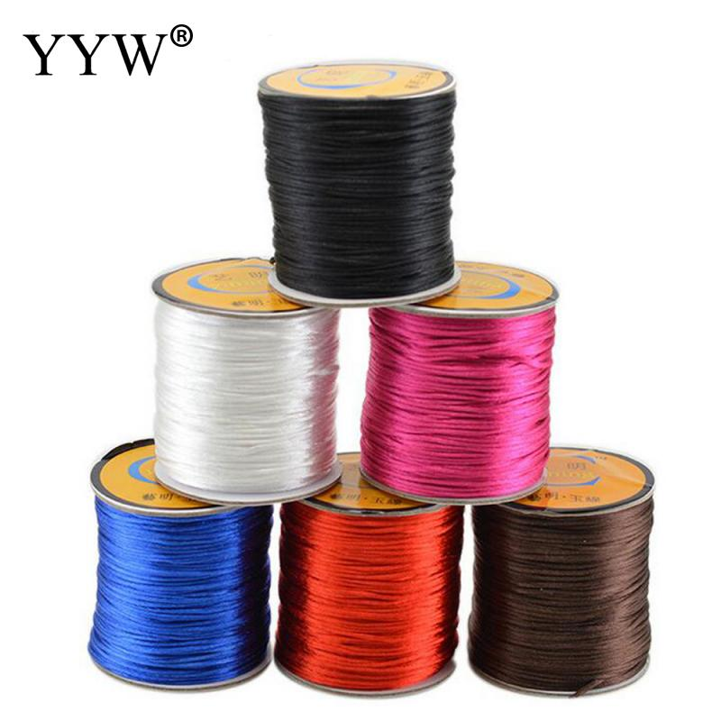 60m/Roll 1.5mm Soft Satin Rattail Silk Macrame Cord Nylon Necklace Jewelry Findings Waxed Cord String Thread For Diy Bracelet