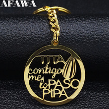 2019 Fashion Tita Contigo Me Lo Paso Pipa Stainless Steel Keychain for Women Gold Color Keyrings Jewelry llavero mujer K77612B