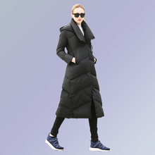 Фотография Plus Size S-XXL Women Hooded 90% White Duck Casual Slim Thick Warm Winter Down Coat Female Parkas Jacket Overcoat Brand Clothes