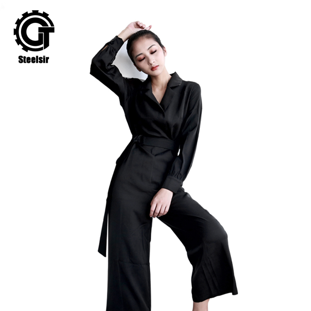Gothic Loose Casual Jumpsuits Women Black Summer Long sleeve Elegant Straps V-Neck Sexy  ...