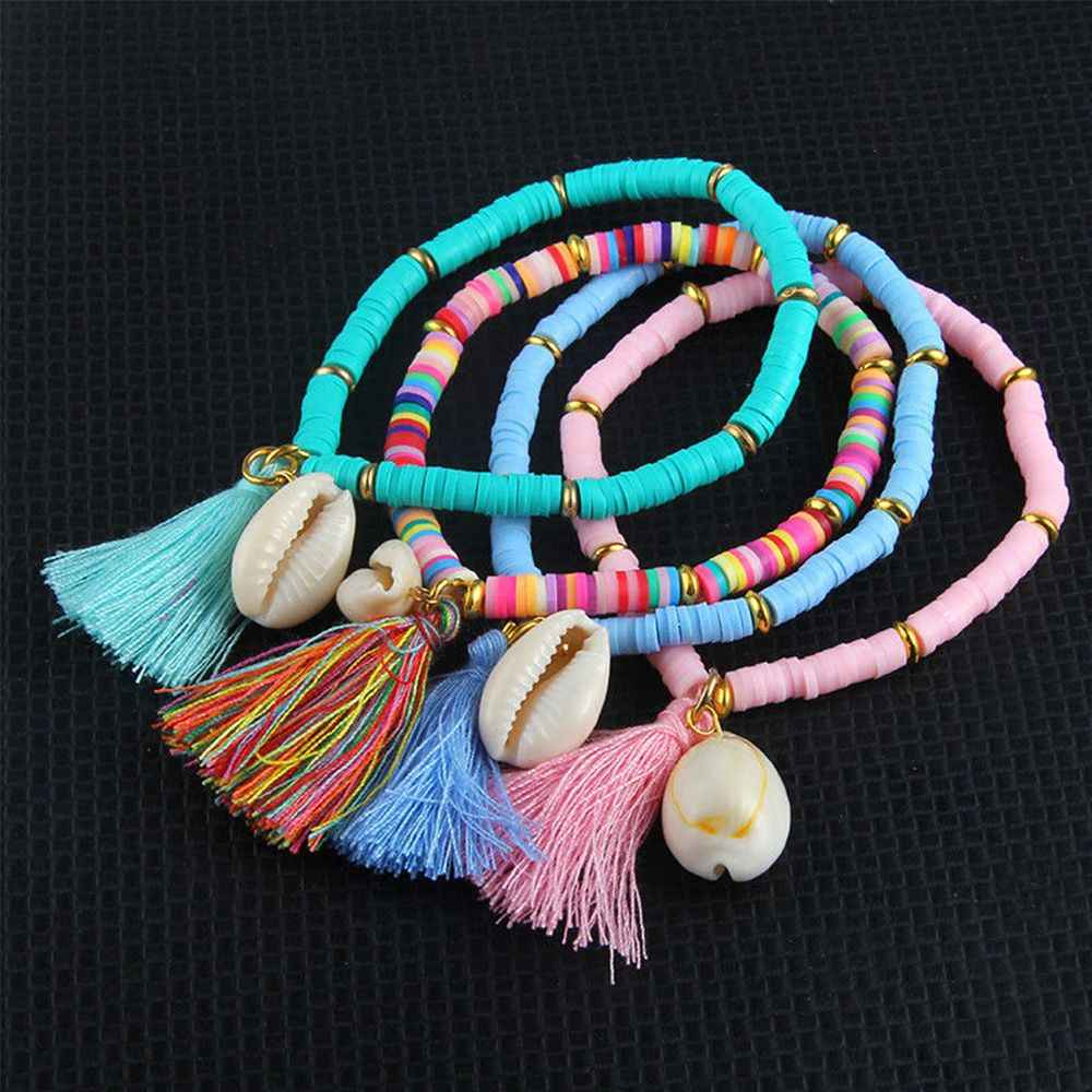 4 Colors Bohemian Shell Moon Bracelet Set Fashion Pop Bracelet Women's Gift Vintage Bracelet Party 2019