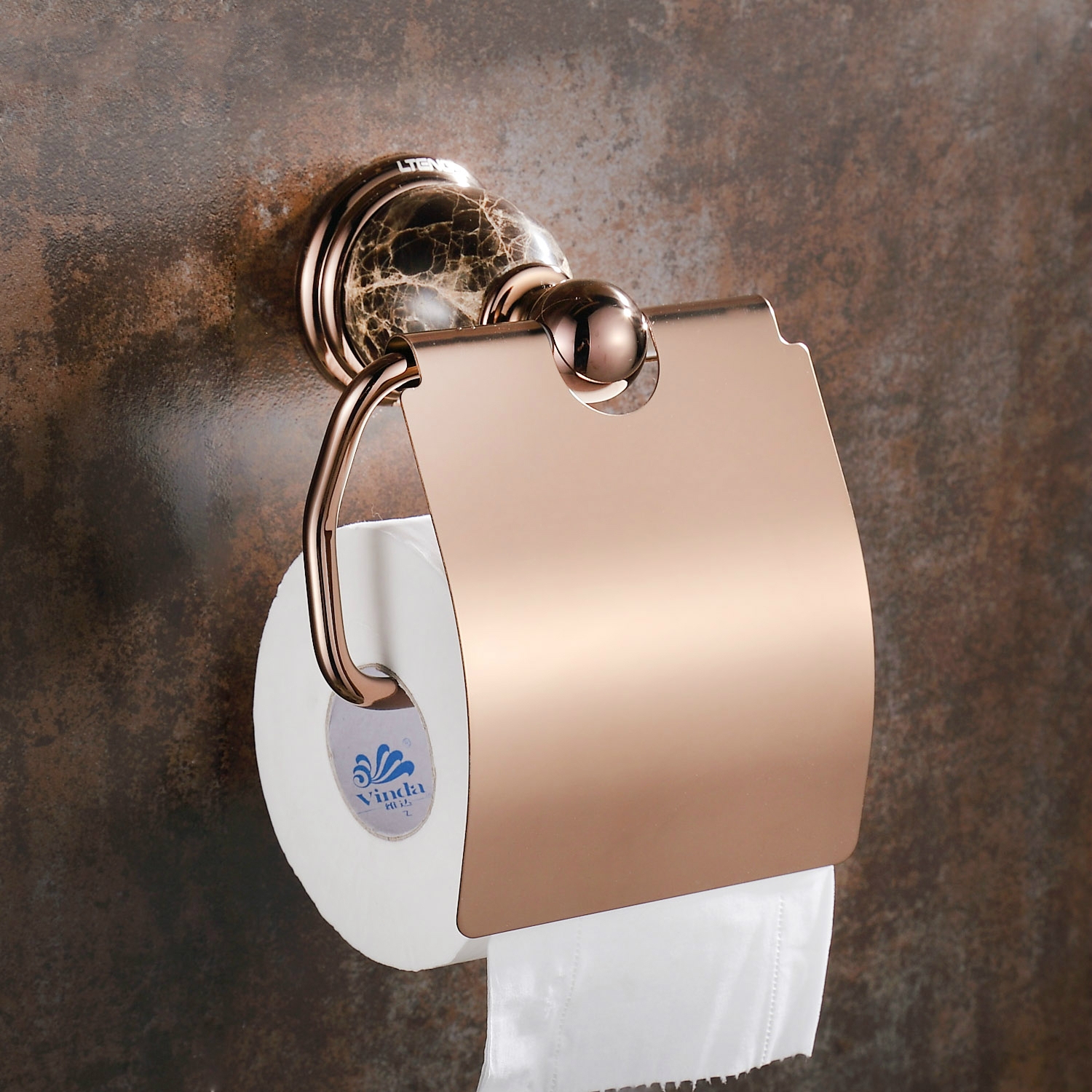 European Rose Gold Ceramic Polished Toilet Paper Holder Antique Brass Tissue Roll Holder Tissue Box Bathroom Accessories mj1