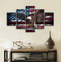 Retro Bald Eagle USA US American Flag Military Canvas Prints Wall Art Independence Day Vintage Home Decor Picture for Livingroom