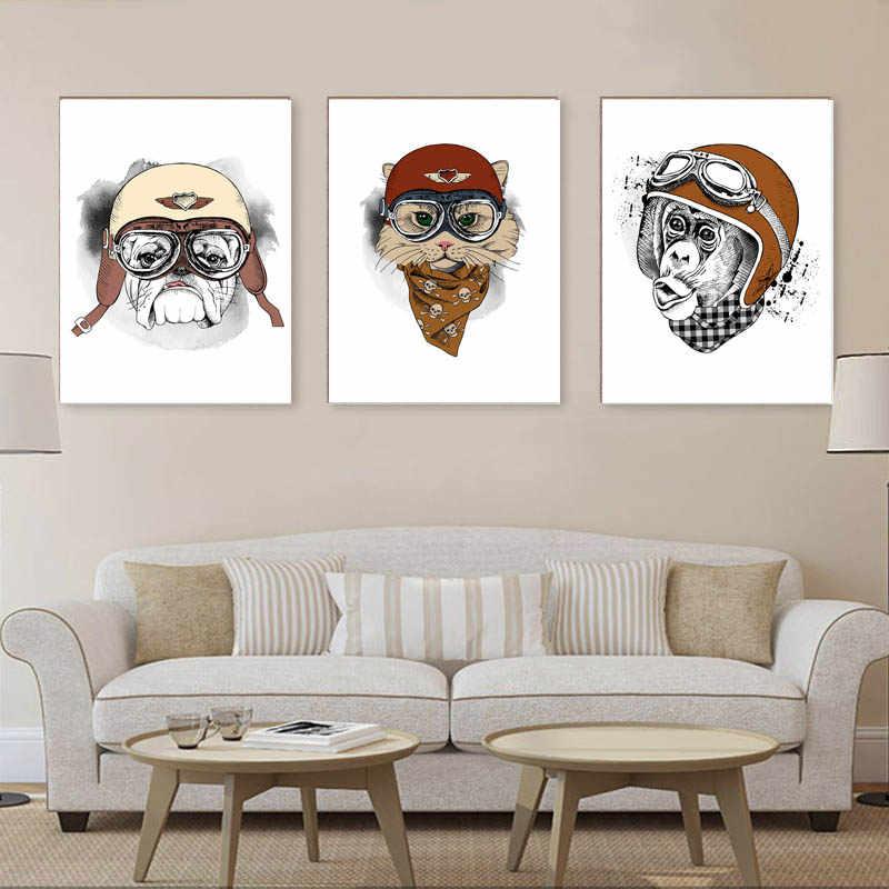 新しいカスタマイズ猫と犬動物オートバイポスター絵画コア北欧シンプルソファリビングルーム装飾画