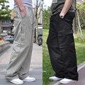 Бесплатная доставка Плюс размер мужчины случайные брюки свободные 100% хлопок fat тонкий плюс размер карманы комбинезоны длинные брюки 3xl 4xl 5xl 6xl