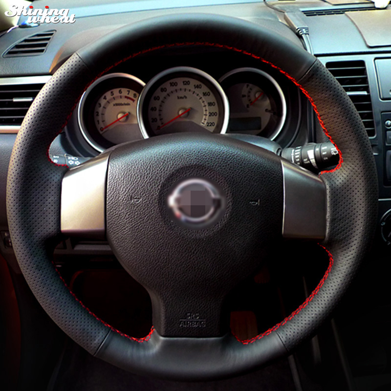 Shining wheat Hand-stitched Black Leather Steering Wheel Cover for Old Nissan Tiida Livina Sylphy Note цена