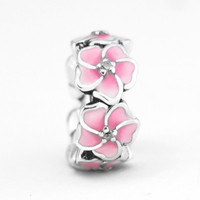 Fits for Pandora Charms Bracelets Magnolia Bloom Beads with Pale Cerise Enamel 100% 925 Sterling Silver Jewelry Free Shipping
