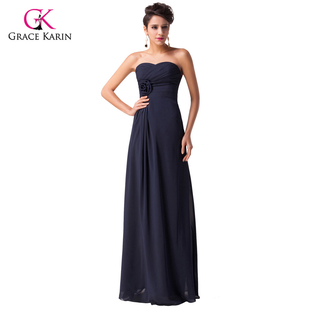 Dinner Party Dress Part - 48: Aliexpress.com : Buy Grace Karin Navy Blue Chiffon Long Formal Evening  Dresses Gowns Strapless Sweetheart Prom Dresses Dinner Party Dress CL3442  From ...