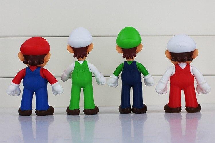 4pcs/lot 13cm Super Mario Bros Luigi Mario PVC Action Figure Toy Doll Cute Gifts For Children Kid 7