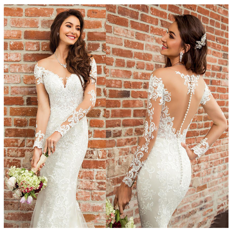 LORIE 2019 Princess Mermaid Wedding Dress Long Sleeves Appliqued Tulle Buttons Back Boho Wedding Gown Long Train Bride Dress
