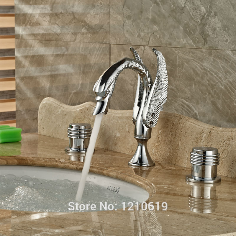 Newly Chrome Finish Luxury Bathroom Sink Faucet Mixer Tap Swan Style Basin Faucet Water Tap Three Holes luxury chrome brass bathroom animal swan faucet 3 holes mixer tap