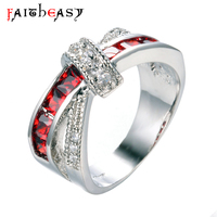 Faitheasy Fashion Shiny Red Ring Red CZ Finger Ring Women Charming Engagement Jewelry Promise Rings Bijoux