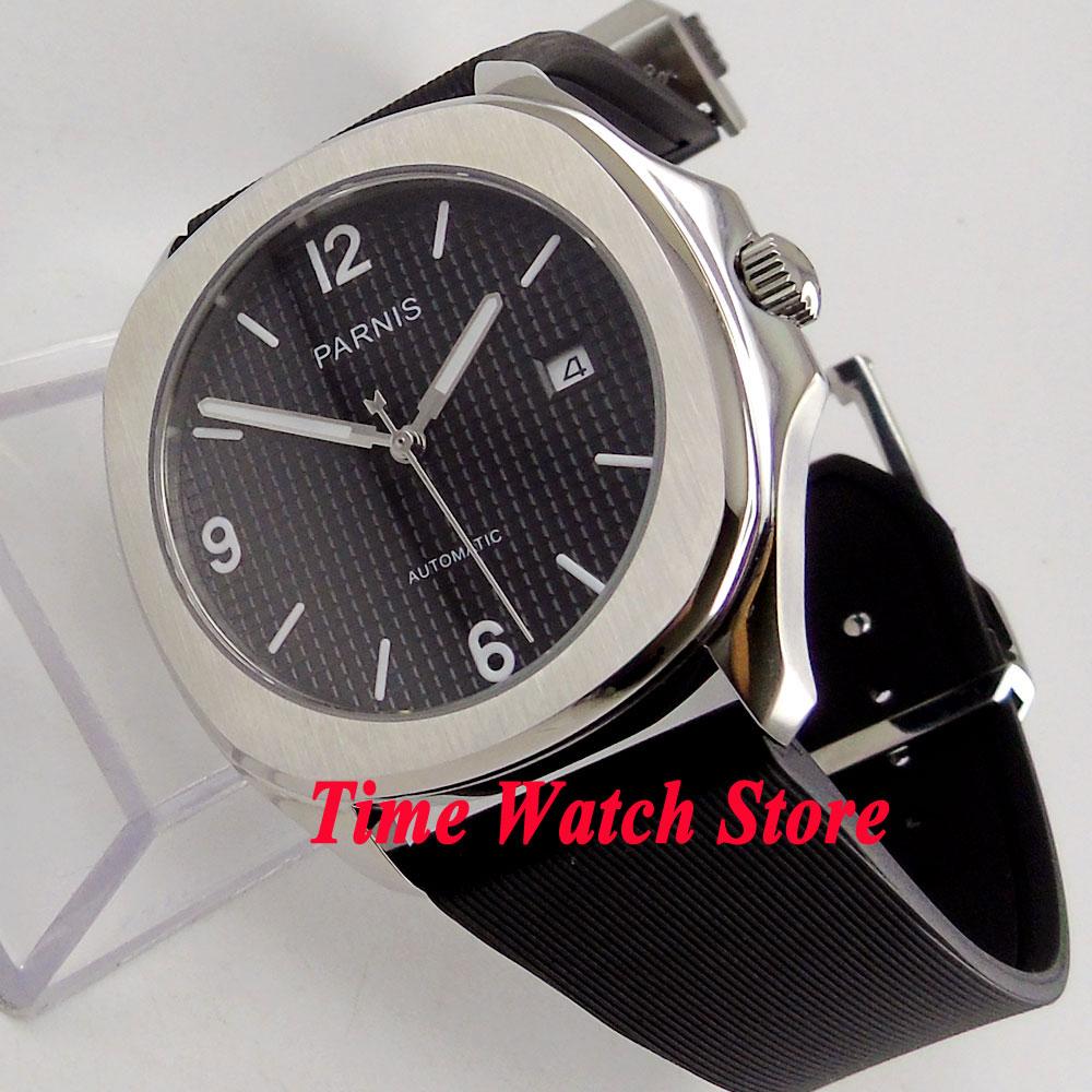 Parnis 40mm carré noir cadran lumineux bracelet en caoutchouc 21 rubis Automatique MIYOTA mouvement montre homme hommes 889