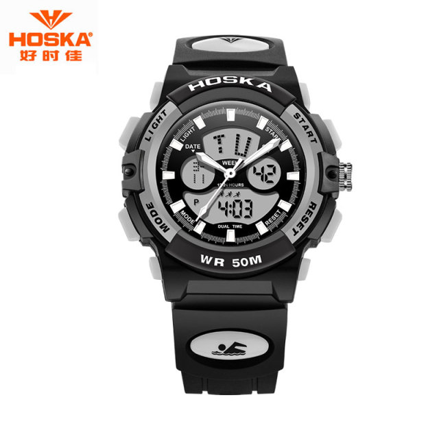 HOSKA Children Digital Watch Sports 50M Professional Waterproof LED Display Quartz Watches for Kids 2017 montre infants HD005