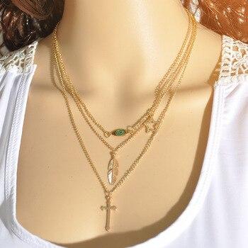 NUEVO ESTILO DE PLAYA bohemio 3 collares con capas Sexy larga cadena Lariat gargantilla borla declaración collares fiesta Kolye