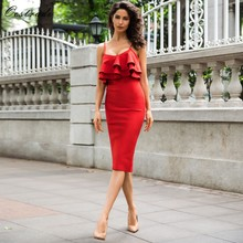 Ocstrade Vestido Bandage Jurken 2019 New Arrivals Elegante Vrouwen Ruches Rood Sexy Bodycon Midi Jurk Zomer Avond Party Dress(China)