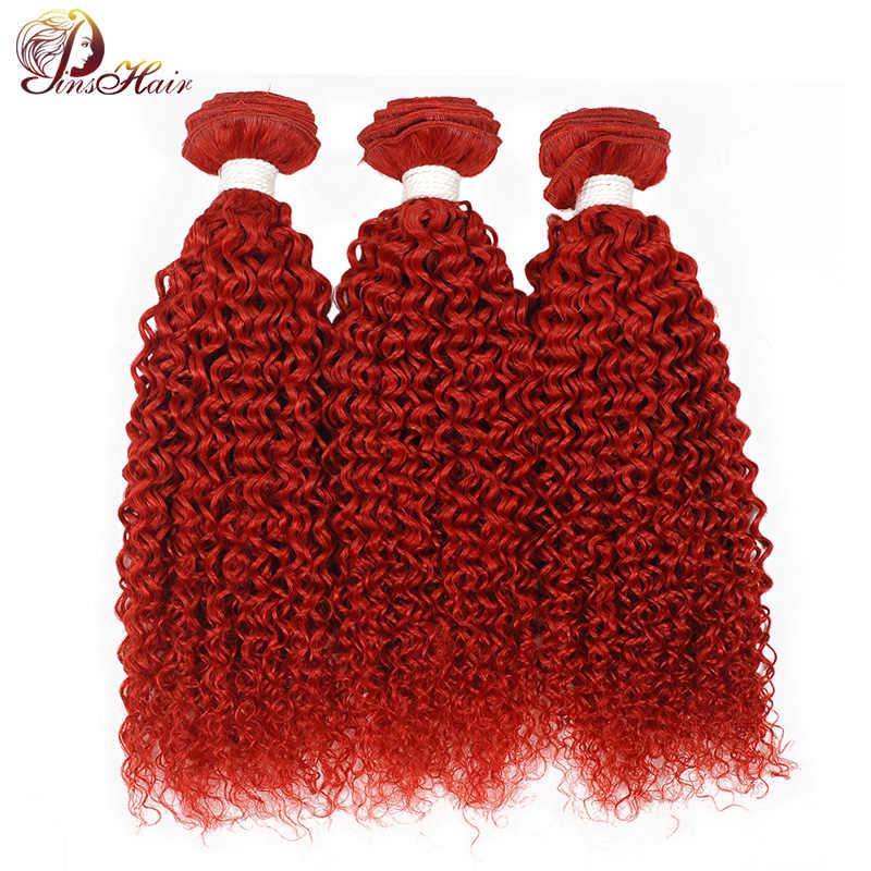 Pinshair Peruanische Haar 99j Rot Haar Bundles Burgund Bundles Afro Verworrenes Lockiges Menschliches Haar Extensions Remy Menschliches Lockige Haar Bündel