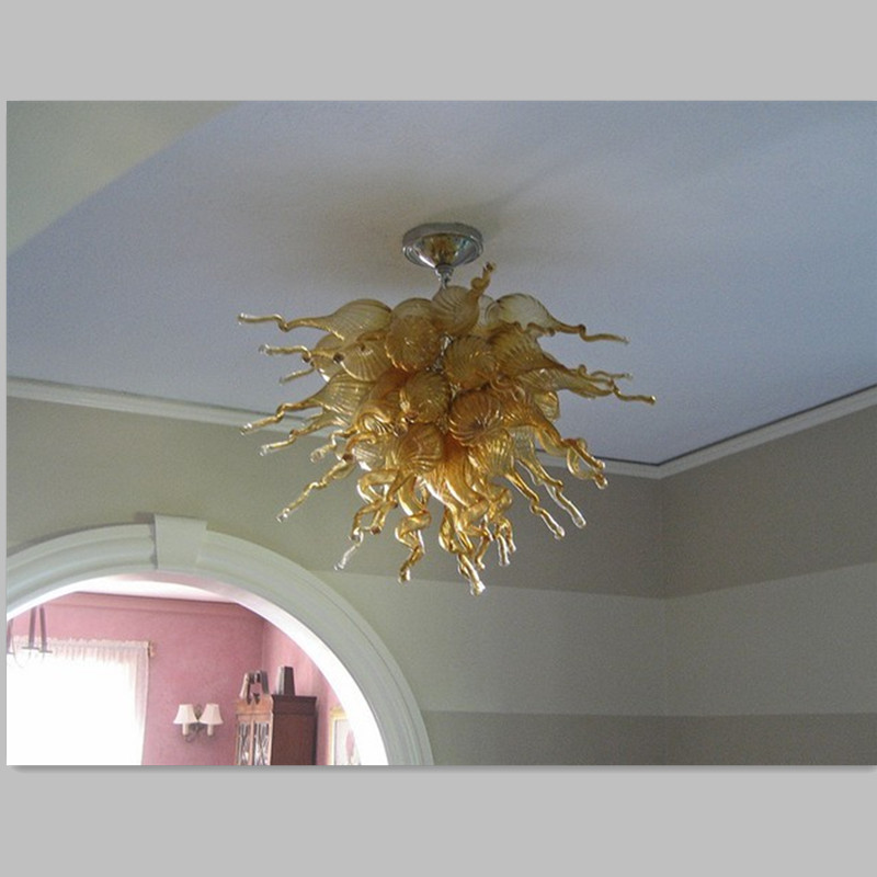 Amber glass chandelier brass LED blown glass chandeliers lighting