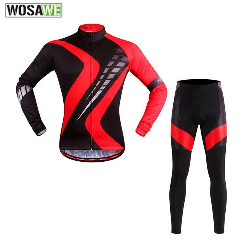 WOSAWE Brand Design Bicycle Clothing Set Long Sleeve Sports Jacket Pants Gel Pads Shockproof Spring Autumn