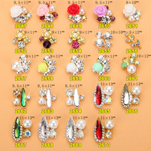 100PCS/Lot NEW 2017 Fashion Japanese 3D Bows flower Nail Charms | Gold Silver  Ring with Pear for UV Gel Tips 1312-1332