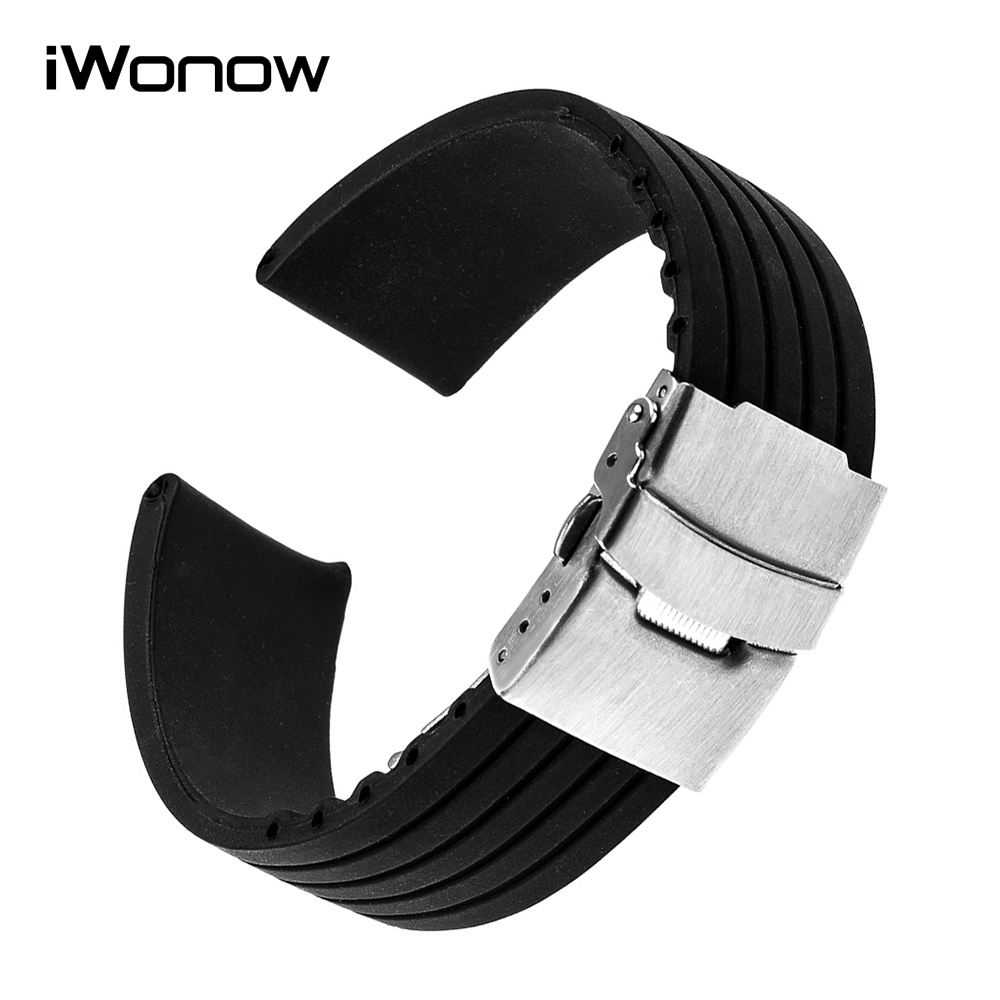22mm Silicone Rubber Watchband for LG G Watch Urbane W150 Asus ZenWatch 1 2 Men WI500Q WI501Q Steel Safe Buckle Band Wrist Strap