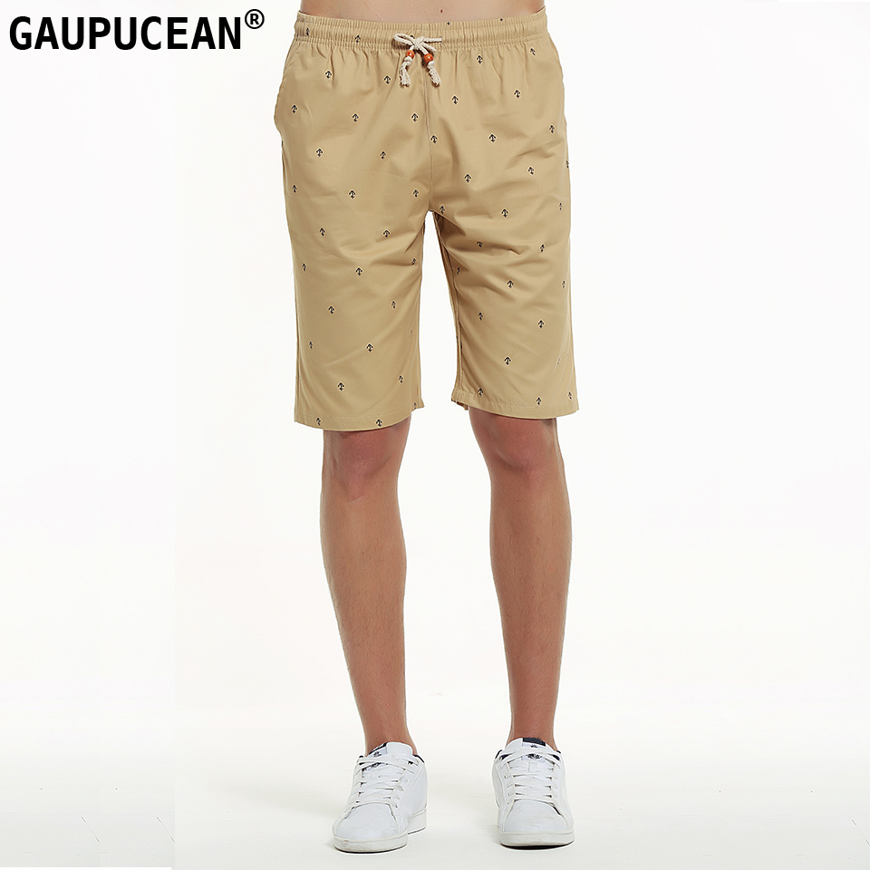 Genuine Gaupucean 100% Cotton Knee Length Man Casual Short Pants Straight Summer Khaki Navy Blue Elastic Waist Chino Men Shorts