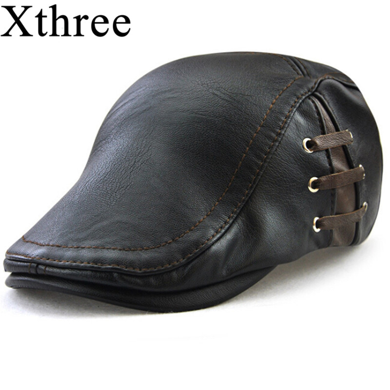 Gorra de cuero de imitación de moda Xthree gorra de casqueta sombreros para  hombres visores gorra de sol Gorras Planas PU 9f3e69c581c