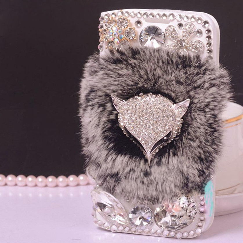 Bling Diamond Peacock Fox Case For Google Pixel 2 Rabbbit Fur Wallet PU Leather Flip Cover For Google Pixel 2 XL With Card Slot