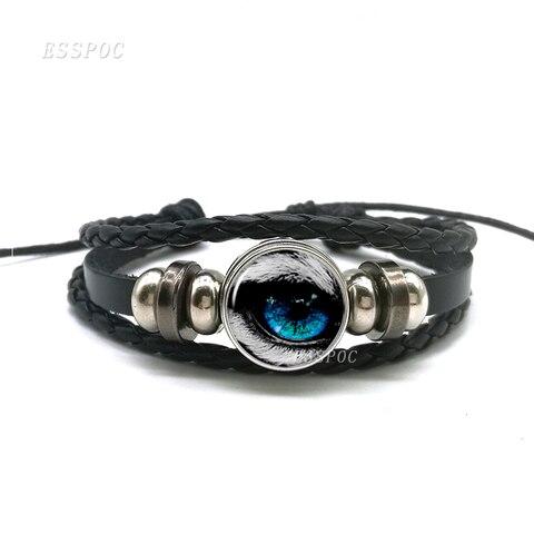 Dragon Evil Eye Bracelet Men Punk Evil Eye Black Charm Leather Bracelet Fashion Jewelry Gifts For Men 2019 Hot Multan